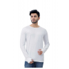 Grand Stitch Solid Men's Round Neck Full Sleeve White T-Shirt